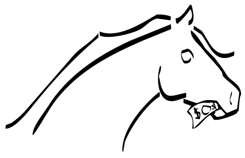 Profile sketch of a horse eating a dollar bill